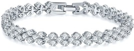 SILYHEART White Gold Plated Cubic Zirconia Tennis Bracelet, Fashion Jewe... - $35.91