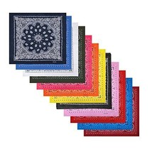 12 Pack Cotton Bandanas with Different Colors for Daily Life Scarves Uni... - $16.57
