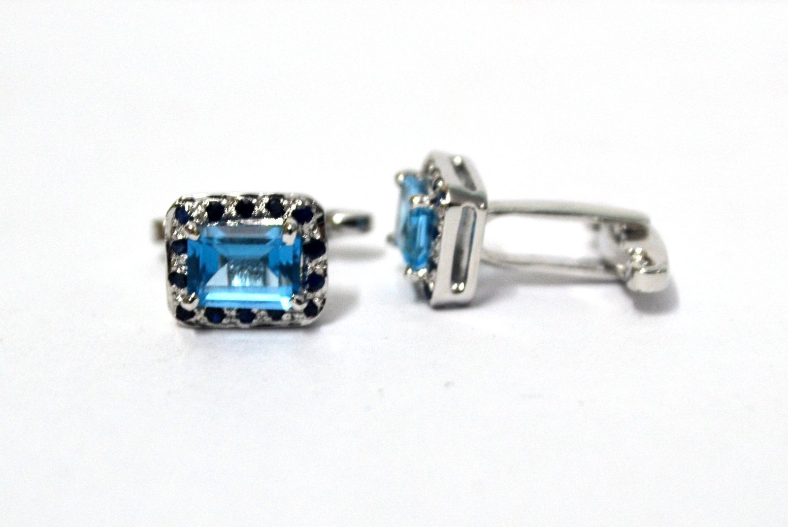 925 Sterling Silver Natural Fine Quality Blue Topaz And Blue Sapphire Gemstone A image 3