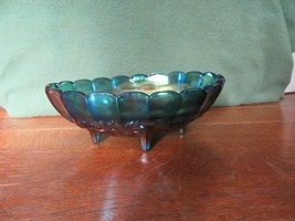 Vintage Iridescent Blue Carnival Glass 4 Footed Center Piece Fruit Bowl-Grape image 2