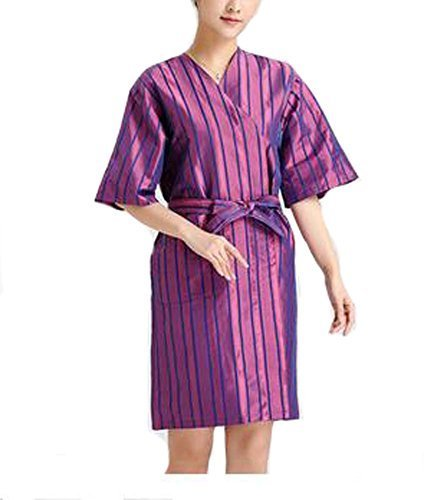 Beauty Salon Straight Strip Gown Robes Hairdressing Gown for Clients, Purple