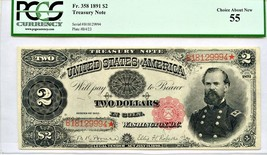FR. 358 1891 $2 Treasury Note PCGS About New 55 - Scarcer of the Date - - $2,260.10