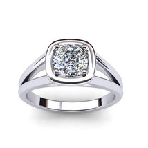 0.50 Carats Cushion Cut Solitaire Natural Diamond Engagement Ring 18K Wh... - $1,165.22