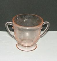 Vintage Pink Depression Glass SUGAR BOWL Dogwood Pattern Footed - $17.98