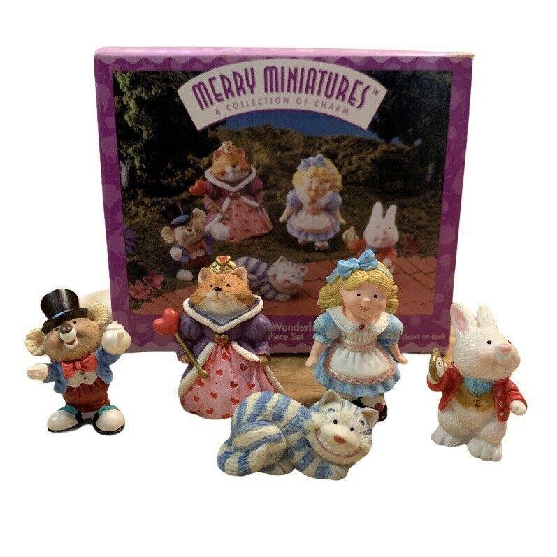 Hallmark Alice In Wonderland Mini Figurine Decorative 5 Piece Set - $12.86
