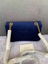 NEW Authentic GUCCI MARMONT MEDIUM ROYAL BLUE VELVET FLAP BAG  image 2