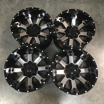 Used 20x12 D8 fit Ford F250 F350 8x170 -44 Black Machined Face Wheels se... - $699.00