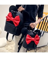 new fashion sweet mickey ears large shoulder bag quality pu leather women bag bow bag thumbtall