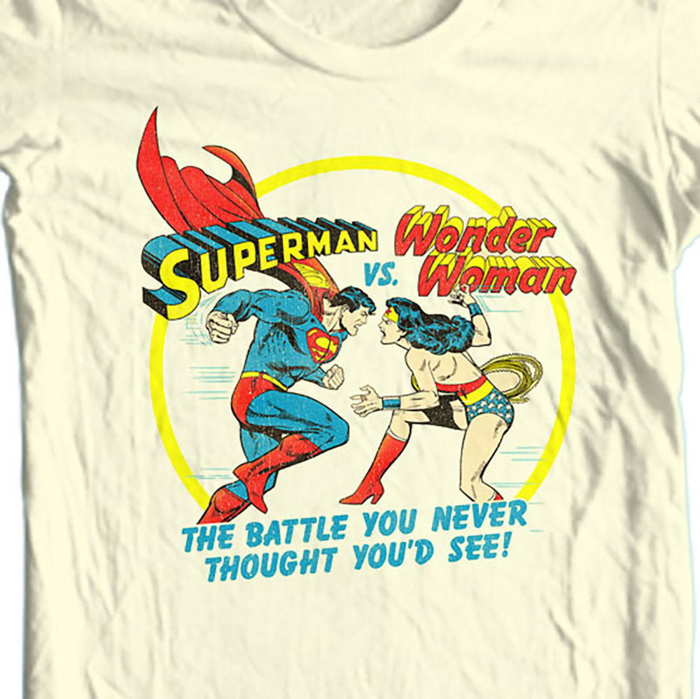 Superman vs Wonder Woman T Shirt retro nostalgic DC Comics graphic tee SM1937