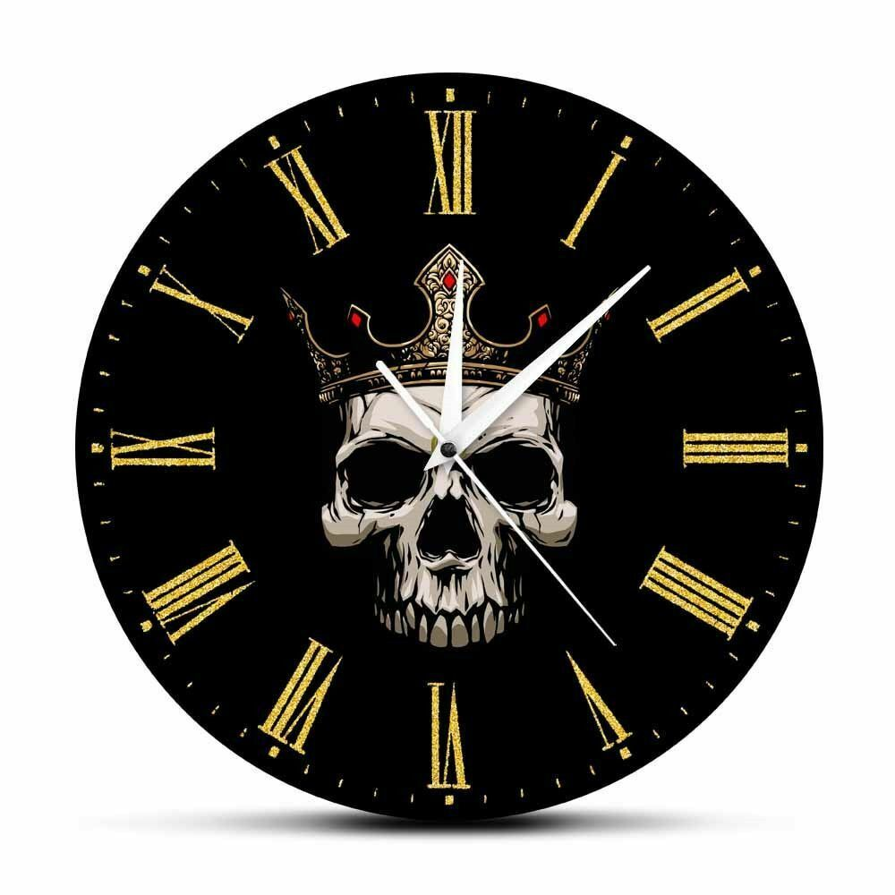 Primary image for Skull With Gold Crown Wall King Throne Home Decor Clock Rock and Roll Lover Gift