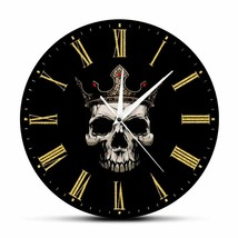 Skull With Gold Crown Wall King Throne Home Decor Clock Rock and Roll Lo... - $40.28+