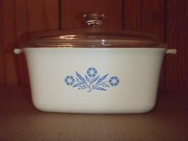 Corning Ware Blue Cornflower Rectangular 1.5QT Baking Dish P-4-B Loaf Pan & Lid  - $28.04