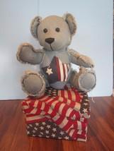 DANDEE LAURELLS ATTIC CLARK  DENIM USA FLAG TEDDY BEAR W/FABRIC FLAG BOX - $24.75