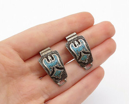 NAVAJO 925 Silver - Vintage Crushed Turquoise Peyote Bird Watch Clips - ... - $34.22
