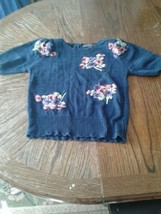 Vintage Herman Geist Hand Knitted Blue Floral Sweater Womens Small (cb26) - $23.38
