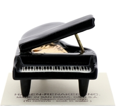 Hagen-Renaker Miniature Ceramic Dollhouse Black Baby Grand Piano image 1