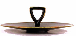 Black Glass CHS Gold Border Plate Tray Serving Arrow Handle  Ebony - $24.99