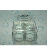 "Russ Berrie Name Porcelain Baby Boy Booties Ornament ""Logan"" Birth Card ... - $5.92"
