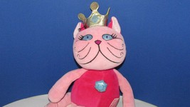 Russ Berrie & CO. Plush Dede hot pink princess cat doll gold crown jewel... - $9.99