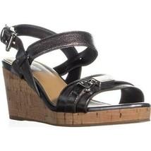 Coach Hinna Wedge Ankle Buckle Platform Sandals, Pewter, 6.5 US / 36.5 EU - $61.43