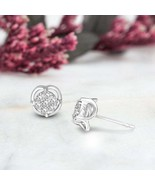 14 K White Gold 1/4 CT Lab Grown Diamond Cluster Earring SI-GH Quality f... - $206.99