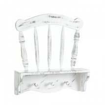 White Wood Wall Shelf Country Chair Hat Rack Weathered Rustic Wooden Shabby - $93.50