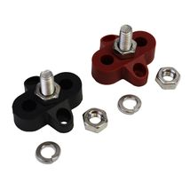 "3/8"" Stainless Steel Single Stud Power and Ground Junction Block Red and Black image 8"