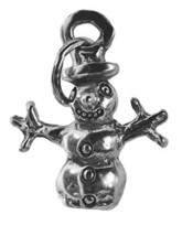 3D Sterling Silver .925 Christmas Frosty the Snowman charm Christmas Family fun - $10.88