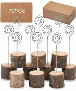10Pcs Premium Wood Place Card Holders w/Swirl Wire & 20 Pcs Kraft Place ... - $14.99