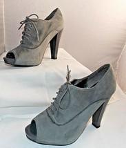 "Ann Taylor Loft Booties Gray Suede Peep Toe Platform Heels Boots Size 7 1/2 M ""B - $20.07"