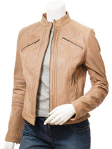 QASTAN Women's New Beige Biker Sheep Leather Jacket Pleated Design QWJ18B - $149.00+