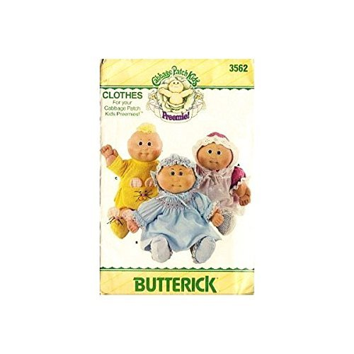 Butterick 3562 Cabbage Patch Kids Preemies Clothes, Dress, Panties, Pinafore, Sh - $22.65