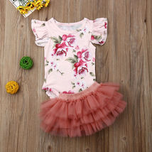 Newborn Baby Girl Floral Romper Tulle Skirts Outfits Cupcake Dress Summer Set To image 2