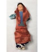 Old Cloth Doll Vintage 1950's w/ Plaster Head 9 in long Brunette Girl in... - $17.63