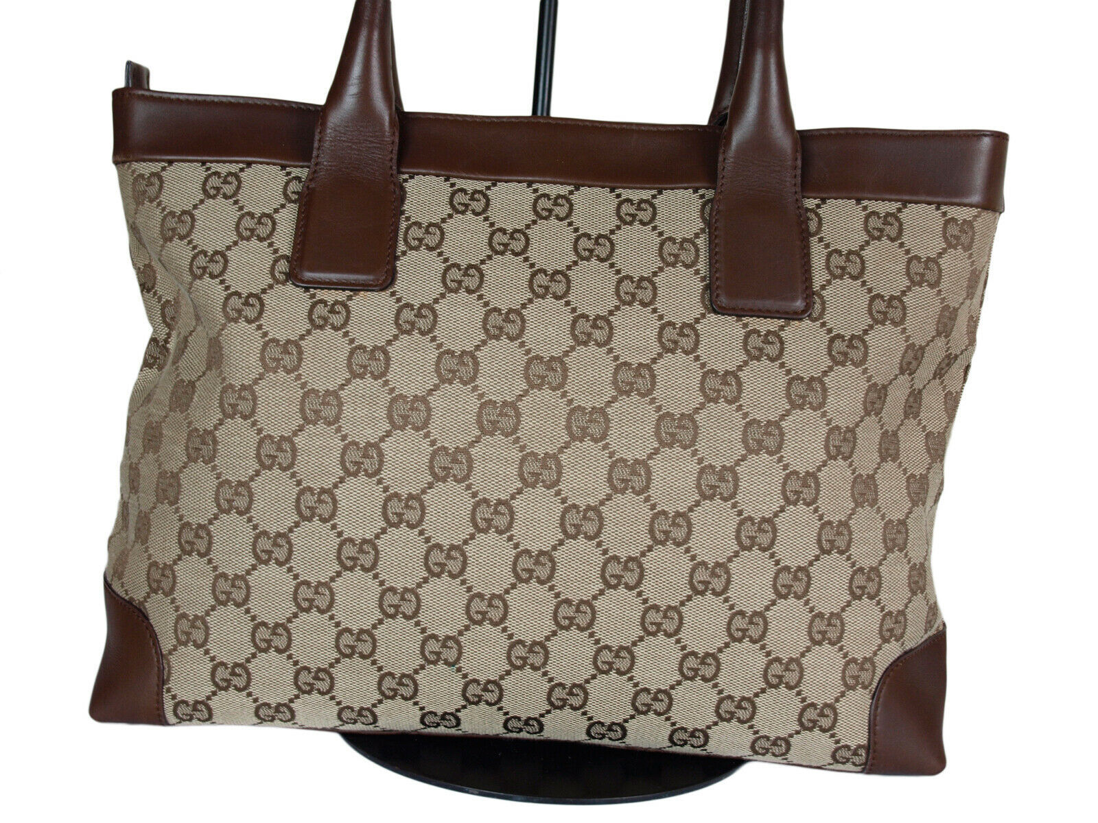 Authentic GUCCI GG Pattern Canvas Leather Browns Shoulder Bag GH2078