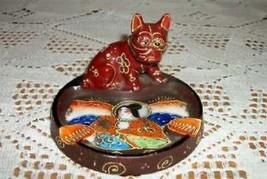 VINTAGE SATSUMA MORIAGE ASHTRAY JAPAN BULLDOG GEISHA ART DECO ERA CHIC S... - $40.84