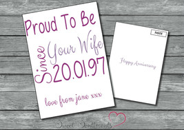 Personalised  Unique  Cute Wedding Anniversary Card A5 Large - $3.81