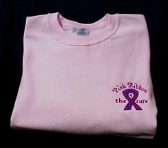 Breast Cancer Sweatshirt 2XL Awareness Ribbon 4 the Cure Pink Crew Neck ... - $31.98
