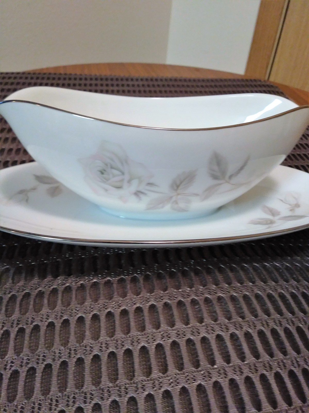 Rare Noritake China Gravy Boat with Attached Underplate Melrose 6002 Gravy Boat