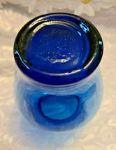 "Vintage Ruffled Collar Blue Glass Vase 6"" by 6"" image 5"