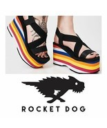 Rocket Dog Bayer Platform Wedge Size 11 Sandals Rainbow Rainbow - $73.59