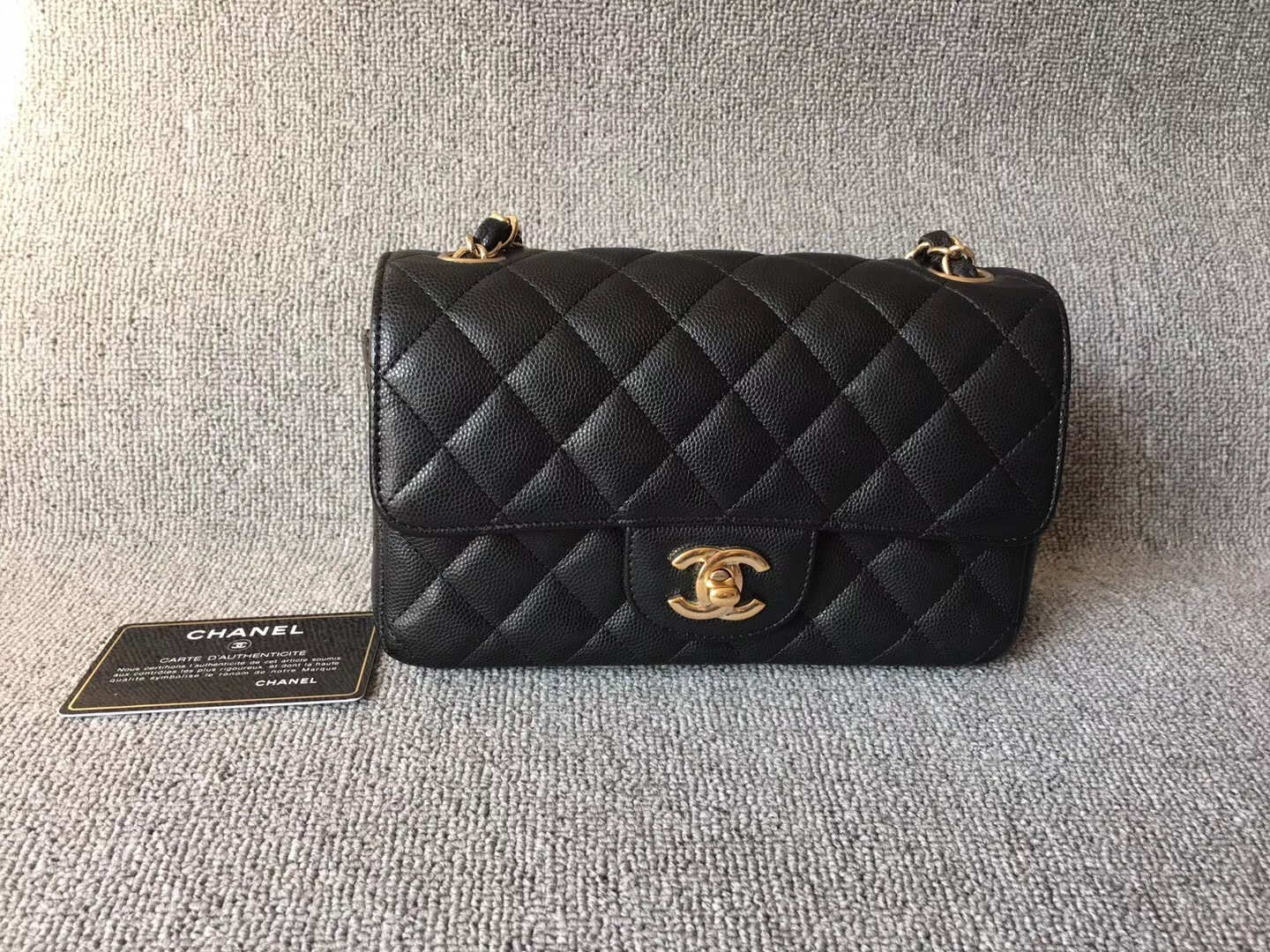 f44c627b1e7a AUTHENTIC CHANEL BLACK CAVIAR LARGE MINI 20CM GOLD HW RECTANGULAR ...