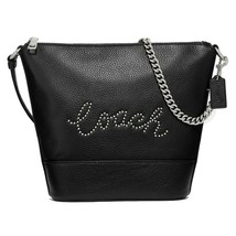 NWT COACH Small Paxton Duffle Bag Crossbody Silver Chain Logo Purse Blac... - $117.02