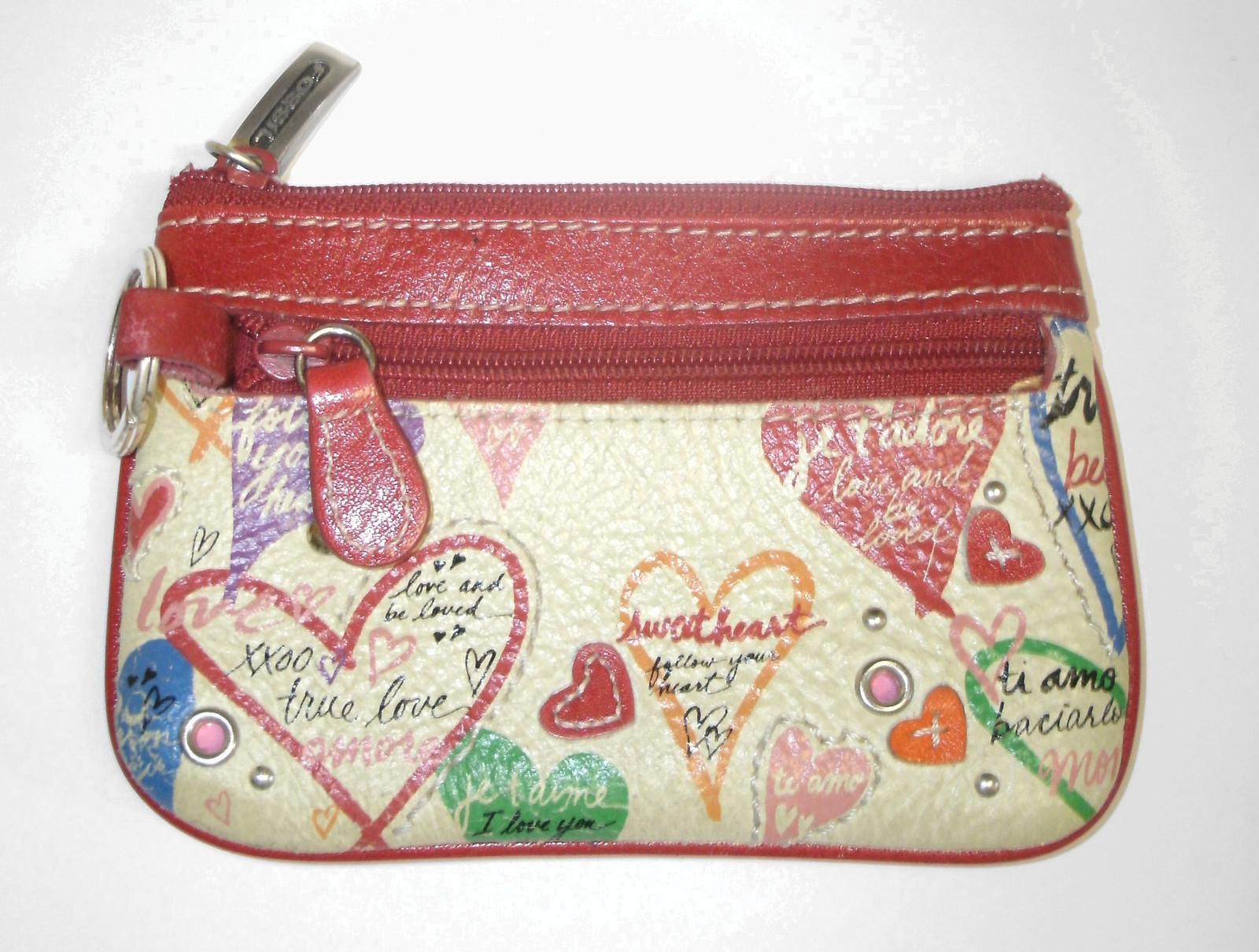 Fossil Mini ID Wallet Coin Purse Red Leather Heart Love Keychain