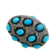 New 2.1Ct Diamond Pave 925 Sterling Silver Turquoise Spacer Bead Vintage... - $475.74