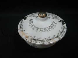 Lefton China 50th Anniversary Covered Trinket Candy Dish 3 Footed Gold 2606 - $13.98