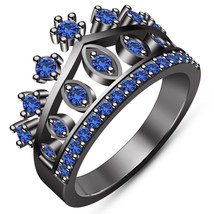 Blue Sapphire Girls Crown Ring Black Gold Over 925 Sterling Silver Women... - £69.31 GBP