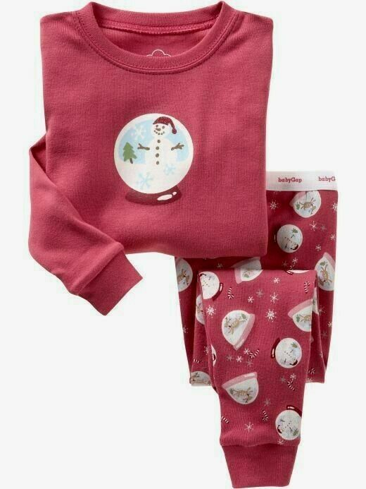 Baby Gap Pajama Set Long Sleeved Top & Bottom Snowglobes Size 4 Years NWT - $19.99