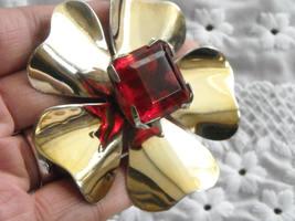 "Vintage Gold Tone Flower Brooch Large Square Faceted Red Gem Pronged 2.75""  image 2"