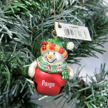 Paige Personalized Christmas Ornament Snowman Jingle Bell Red Ganz NEW - $6.88